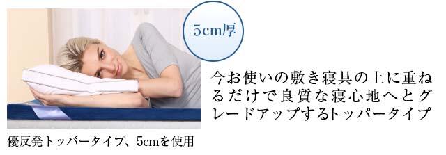 5cm厚 いまお使いの敷き寝具の上に重ねるだけで良質な寝心地へとグレードアップするトッパータイプ